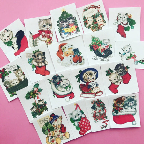 Kitten Stickers - Set of 18 - Handmade Stickers, Vintage Christmas, Cute Planner Stickers, Cute Christmas, Holiday Stickers, Vintage Kitten