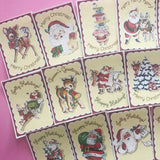 Christmas Stickers - Set of 18 - Handmade Stickers, Vintage Christmas, Cute Planner Stickers, Cute Christmas, Holiday Stickers, Vintage Deer