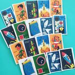 Space Stickers - Set of 18 - Handmade Stickers, Vintage Style, Vintage Space O, Cute Planner Stickers, Cute Stickers, Kitsch Space