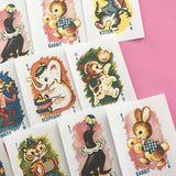 Animal Stickers - Set of 18 - Handmade Stickers, Vintage Style, Vintage Animals, Cute Planner Stickers, Cute Stickers, Vintage Animal Rummy