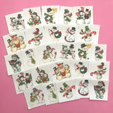 Snowman Stickers - Set of 26 - Handmade Stickers, Vintage Christmas, Planner Stickers, Cute Christmas, Holiday Stickers, Vintage Snowman