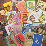 Vintage Playing Cards - Assorted Set of 50 - Vintage Cards, Vintage Children Cards, Scrapbooking Ephemera, Junk Journal, Altered Art