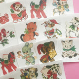 Animal Stickers - Set of 23 - Handmade Stickers, Vintage Christmas, Planner Stickers, Cute Christmas, Holiday Stickers, Vintage Animals