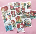 Mermaid Stickers - Set of 16 - Handmade Stickers, Valentine Stickers, Vintage Valentines, Journal, Planner Stickers, Cute Valentines