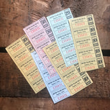 Vintage Yellow Cab Coupon Tickets - 6 Sheets, 30 Tickets - Vintage Tickets, Altered Art, Junk Journal, Scrapbooking, Collage, Paper Ephemera