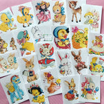 Easter Stickers - Set of 67 - Handmade Stickers, Vintage Style, Vintage Easter Stickers, Planner Stickers, Junk Journal Stickers, Animals