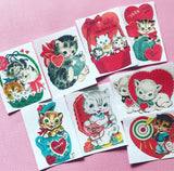 Kitten Valentine Stickers - Set of 45 - Handmade Stickers, Vintage Style, Vintage Valentines, Journal, Planner Stickers, Kitten Stickers