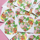 Valentines Stickers - Set of 16 - Handmade Stickers, Vintage Style, Vintage Valentines, Journal, Planner Stickers, Heart Stickers, Kitsch
