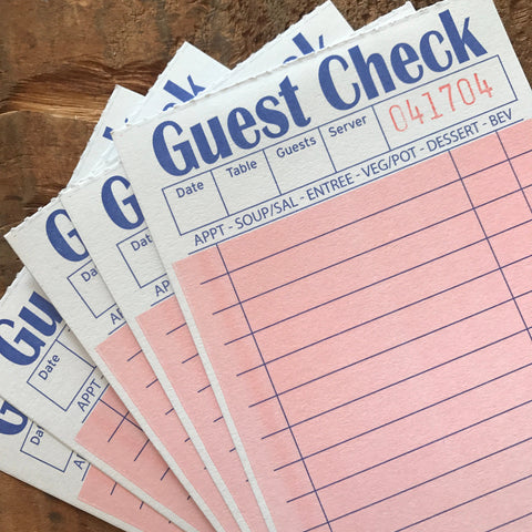 Pink Guest Checks - Set of 25 - Junk Journal Paper, Journal Ephemera, Planner Supply, Craft Supply, Paper Ephemera, Journal Card, Receipts