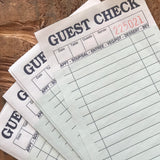 Green Guest Checks - Set of 25 - Junk Journal Paper, Journal Ephemera, Planner Supply, Craft Supply, Paper Ephemera, Journal Card, Receipts