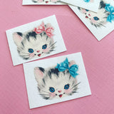 Kitten Stickers - Set of 32 - Handmade Stickers, Vintage Style, Vintage Kittens, Cute Cats, Journal, Planner Stickers, Cute Kitten Stickers