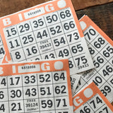 Orange Bingo Cards - Set of 20 - Bingo Sheets, Junk Journal Paper, Journal Ephemera, Planner Supplies, Craft Supplies, Paper Ephemera, Craft