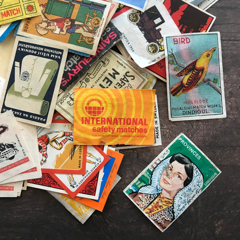 Vintage Matchbox Labels - Set of 20 - Vintage Labels, Vintage Paper Ephemera, Collage Ephemera, Altered Art, Junk Journal, Tobacco Labels
