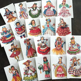 Vintage Ladies Stickers - Set of 20 - Handmade Stickers, Vintage Style, Cute Planner Stickers, Cute Girl Stickers, Dolls of Many Lands