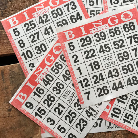 Red Bingo Cards - Set of 20 - Bingo Sheets, Junk Journal Paper, Journal Ephemera, Planner Supplies, Craft Supplies, Paper Ephemera, Craft