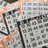 Halloween Bingo - Set of 20 Orange and Black Bingo Sheets - Junk Journal Paper Ephemera, Journal Ephemera, Planner Supplies, Craft Supplies