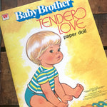 Vintage Baby Brother Tender Love Paper Doll Book - Unused / Uncut - Vintage Baby Boy Paper Doll Books, Children's Book, 1970s Whitman Book