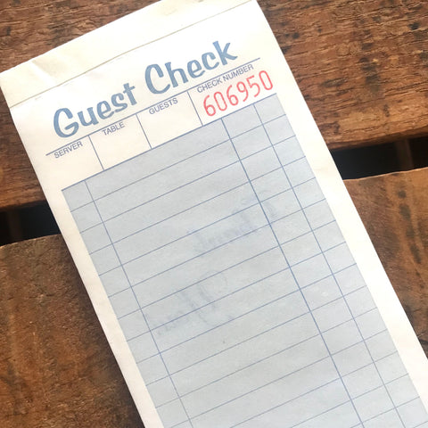 Blue Guest Checks Pad - Set of 100 - Junk Journal Paper Ephemera, Planner Supply, Craft Supply, Paper Ephemera, Journal Paper, Receipts