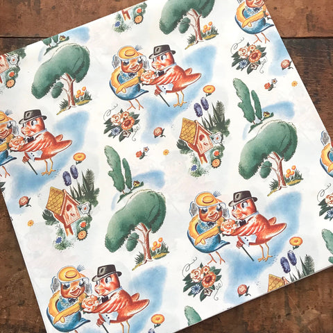 Vintage Gift Wrap - 1 Sheet - Vintage Wrapping Paper, Paper Ephemera, Unused Sheet, Happy Birthday Paper, Cute Animals Gift Wrap