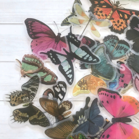 Butterfly Stickers - Set of 25 - Nature Stickers, Junk Journal Paper Ephemera, Planner Supplies, Craft Supplies, Nature Ephemera, Plants