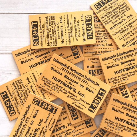 Vintage Railroad Tickets - Set of 5 - Vintage Tickets, Vintage Paper Ephemera, Rare Tickets, Junk Journal Tickets, Old Railroad Ephemera
