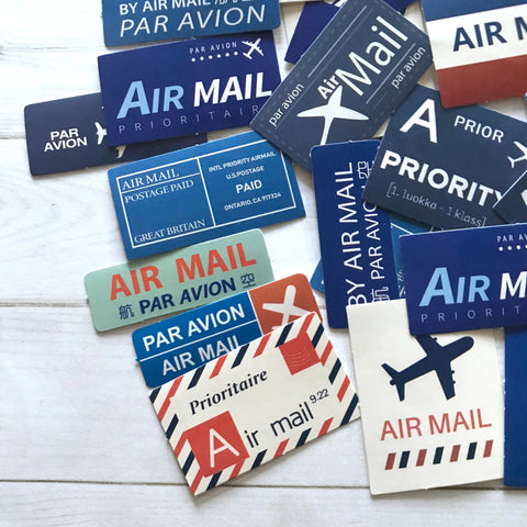 Air Mail Stickers - Set of 45 - Airmail Labels, Par Avion, Junk Journal Paper Ephemera, Planner Supplies, Craft Supplies, Travel Stickers