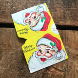 Vintage Christmas Stocking Header Card with Jolly Santa Claus - Unused - Vintage Ephemera, Christmas Ephemera, Christmas Card, Stocking Card