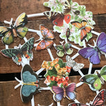 Glitter Die Cut Scraps - Butterflies - Die Cuts, Cut Out, Reproduction, Vintage Style, Vintage Inspired, Paper Ephemera, Vintage Butterflies