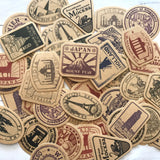 Travel Stickers - Set of 46 - Map Labels, Junk Journal Paper Ephemera, Planner Supplies, Craft Supplies, Postal Stamps, Vacation Scrapbook