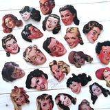 People Stickers - Set of 46 - Face Stickers, Junk Journal Paper Ephemera, Planner Supplies, Craft Supplies, Fashion Stickers, Vintage Style