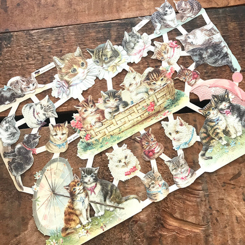 German Scraps - Cute Cats - Die Cuts, Cut Outs, Vintage Style, Vintage Inspired, Paper Ephemera, Reproduction, Cat Scrapbooking Paper
