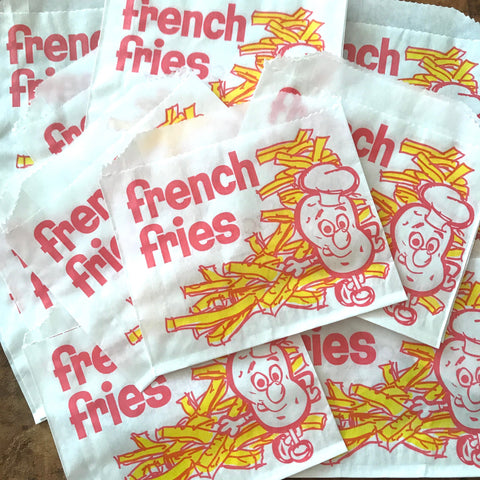 Food Bags - Set of 10 - Paper Bag, Treat Bag,  Merchandise Bags, French Fry Bags, Junk Journal Paper Supply, Craft Supplies, Paper Ephemera