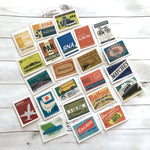 Advertising Stickers - Set of 46 - Junk Journal Stickers, Paper Ephemera, Planner Stickers, Craft Supplies, Postal Stamps, Travel Ephemera
