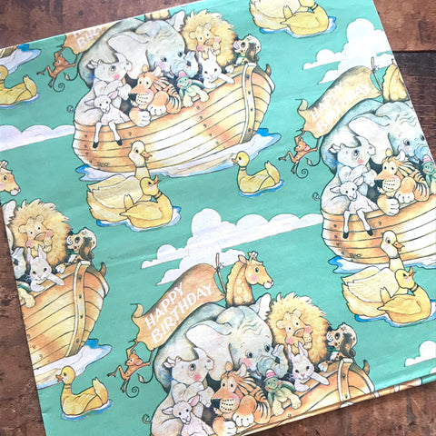 Vintage Gift Wrap - 1 Sheet - Vintage Wrapping Paper, Paper Ephemera, Unused Sheet, Happy Birthday Paper, Noah's Ark, Animal Gift Wrap Lot