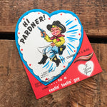 Vintage Cowboy Valentine - Unused Valentine, Vintage Lollipop Card, Cowboy Ephemera, Candy Card, NOS Valentine, Children Card, Boy Valentine