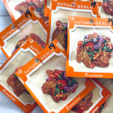 Vintage Dennison Cornucopia Seals - Set of 15 - Vintage Thanksgiving Stickers, Dennison Seals, Halloween Stickers, Thanksgiving Ephemera
