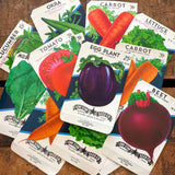 Vintage Vegetable Seed Packets EMPTY - Set of 13 - Vintage Ephemera, Junk Journal, Craft Supplies, Garden Ephemera, EMPTY Seed Pack, Veggies