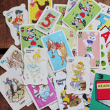 Vintage Assorted MIX of Children's Game Cards - Set of 20  - Animal Rummy, Snap, Authors, Crazy Eights, Old Maid