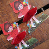 Vintage Little Girl Stand-Up Place Cards - Red Version - Set of 2