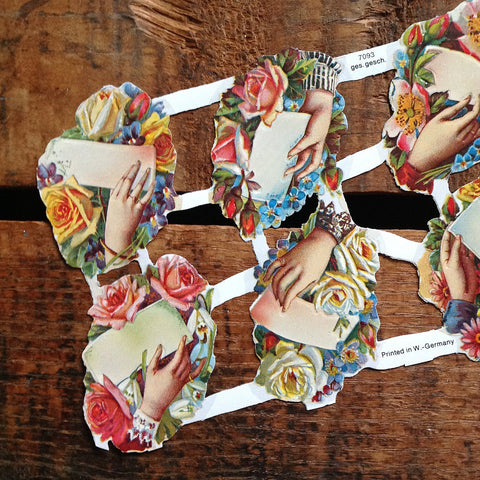 Vintage Style Floral, Hands, and Paper Scraps (Diecuts / Cutouts)
