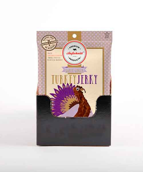 Aufschnitt Kosher Garlic Ginger Turkey Jerky: Case of 12