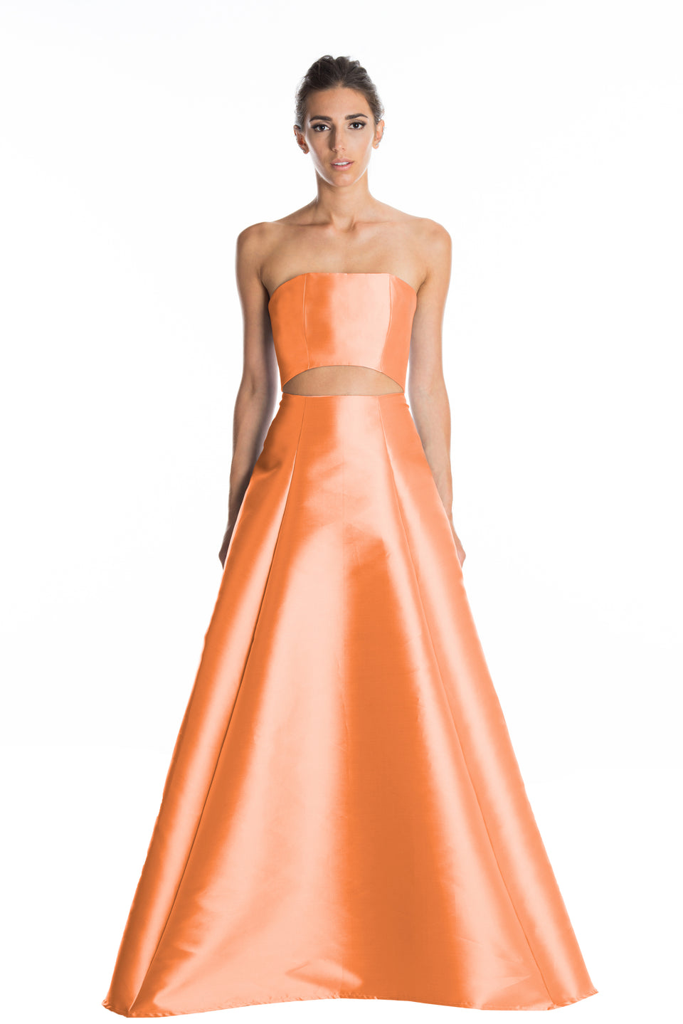 Cut Out Strapless Ball Gown Set