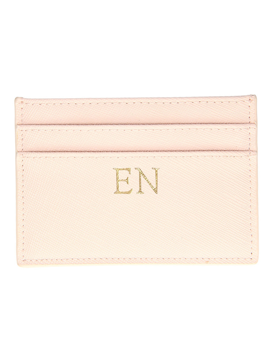 Personalized Customized Monogram Saffiano Slim Cardholder in Peach The Oak Bar Singapore