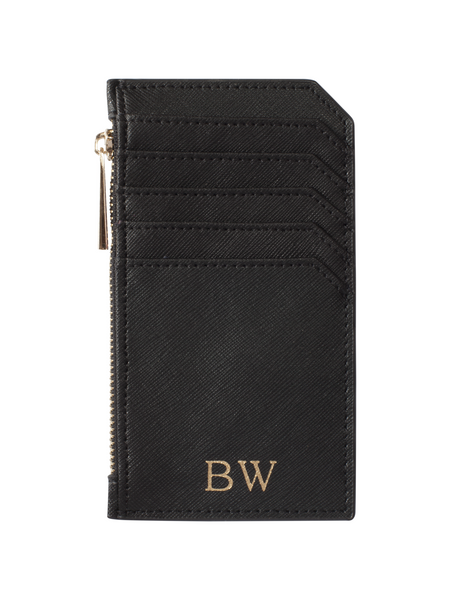 Personalized Customized Monogram Saffiano Zip Cardholder in Black The Oak Bar Singapore