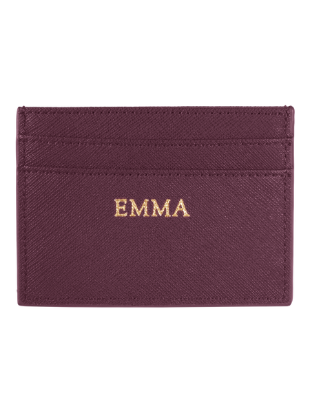 Personalized Customized Monogram Saffiano Slim Cardholder in Burgundy The Oak Bar Singapore