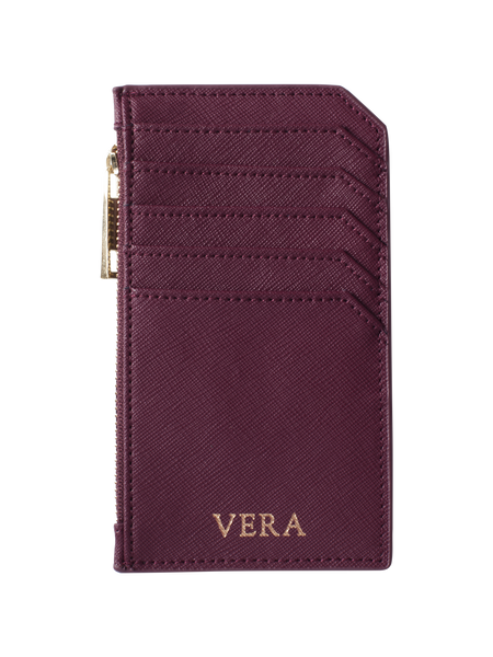 Personalized Customized Monogram Saffiano Zip Cardholder in Burgundy The Oak Bar Singapore