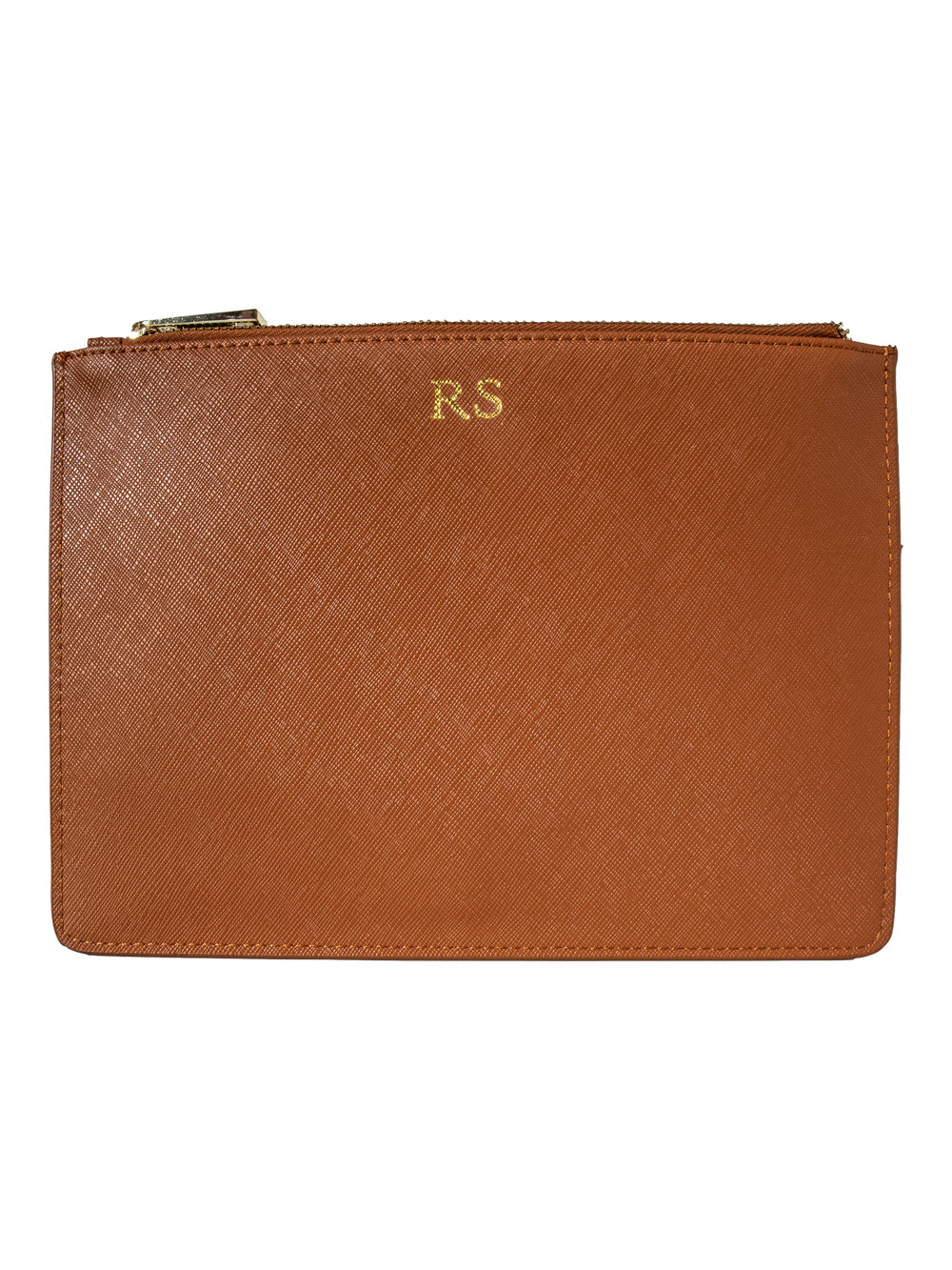 Personalized Customized Monogram Saffiano Clutch in Tan The Oak Bar Singapore