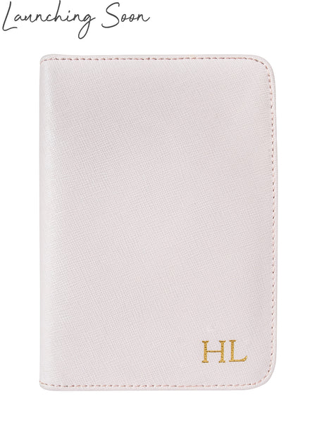 Personalized Customized Monogram Saffiano Passport Holder in Marzipan The Oak Bar Singapore