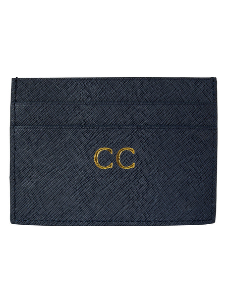 Personalized Customized Monogram Saffiano Slim Cardholder in Midnight Navy The Oak Bar Singapore