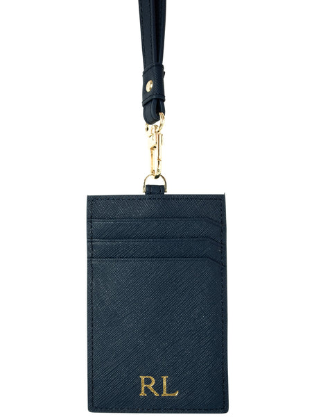Saffiano Leather Lanyard in Midnight Navy